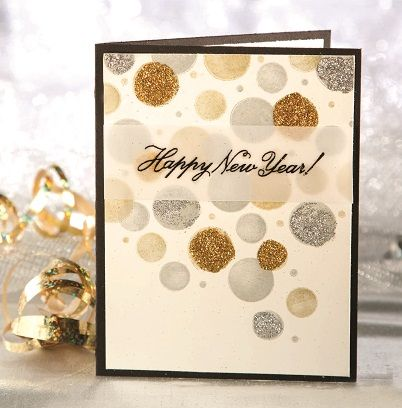 Confetti Drop New Year's card -- From the Winter 2013 issue of CardMaker magazine
