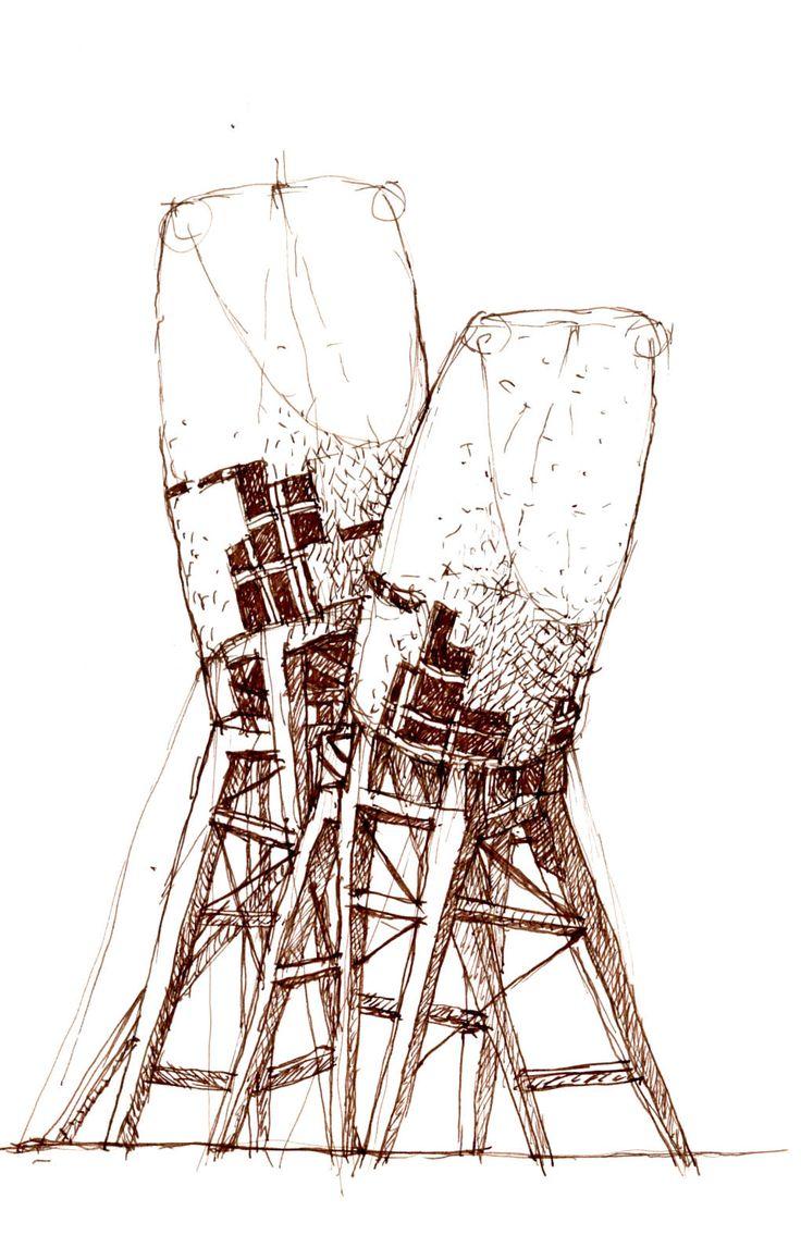 ink drawing fantastic architecture sketch illustration by Notker
