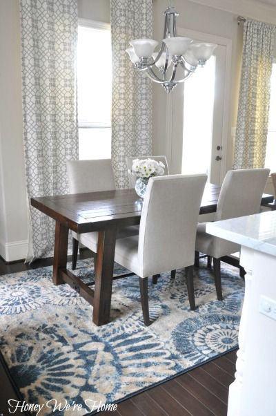 A Bright and Beautiful Breakfast Room with Our Benchwright Table - love the look!  Table and chairs.