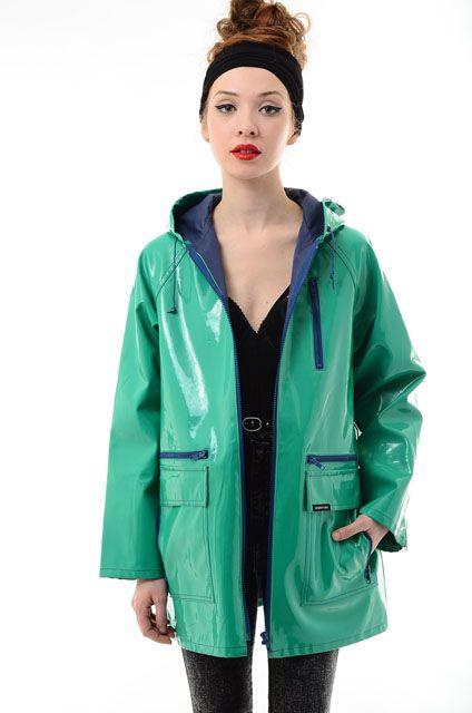 Electricskinny Vtg 80s Members Only Vinyl Raincoat Hooded