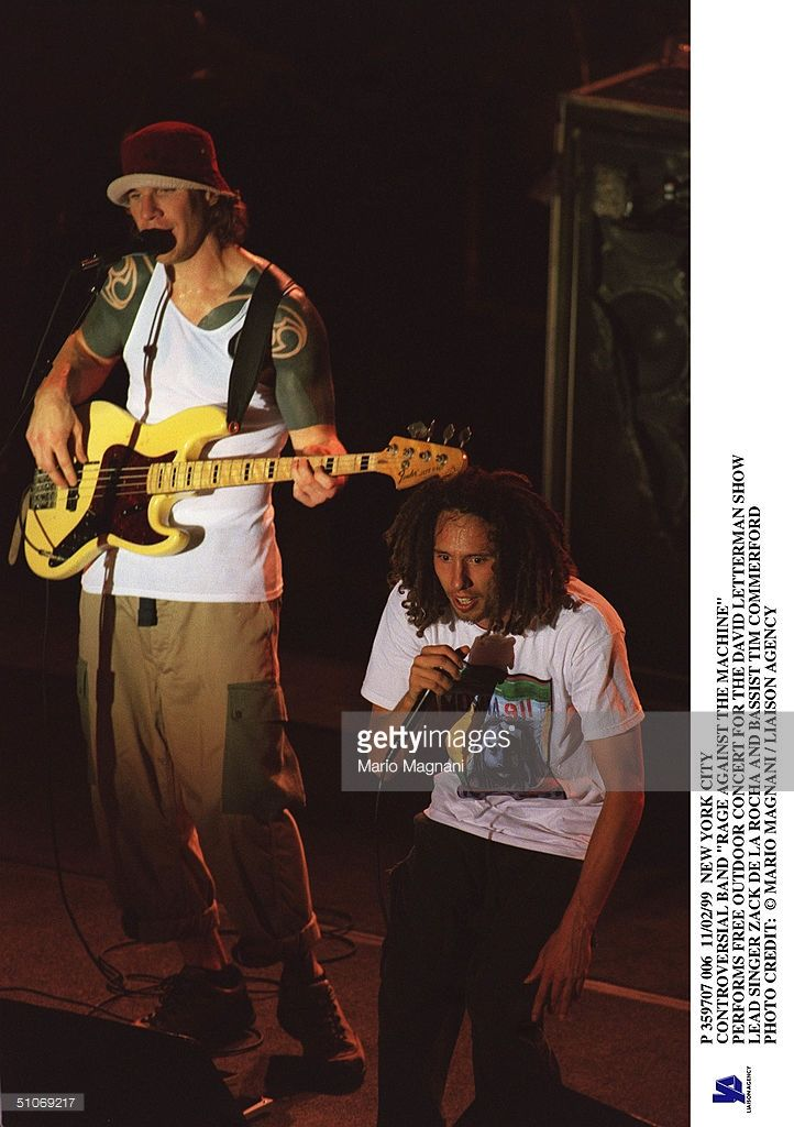 New York City Controversial Band 'Rage Against The Machine' Performs Free Outdoor Concert For The David Letterman Show Lead Singer Zack De La Rocha And Bassist Tim Commerford