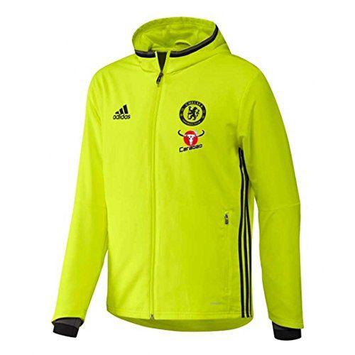 Adidas Chelsea Pre Jkt Veste pour homme: Gilet Adidas : Cfc Pre Jkt Ap5610 Noir –Coupe regular – Col capuche – Logos sur la poitrine –…