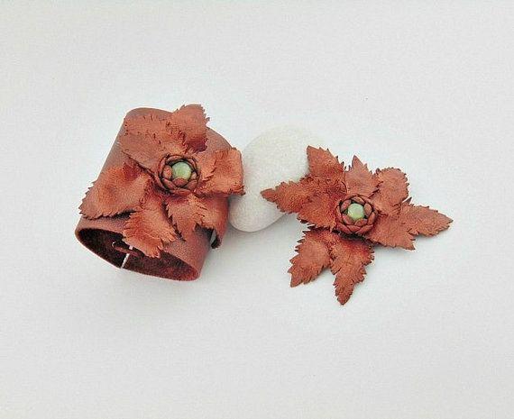 Leather jewelry set leather jewelry leather bracelet