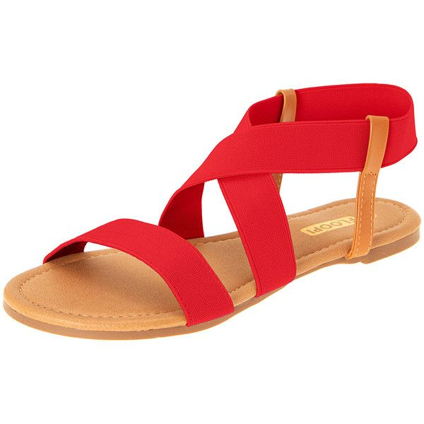 Women's Floopi Women's Gladiator Flat Sandals ($15) ❤ liked on Polyvore featuring shoes, sandals, red, red gladiator sandals, open toe shoes, greek gladiator sandals, flat shoes and red flat sandals