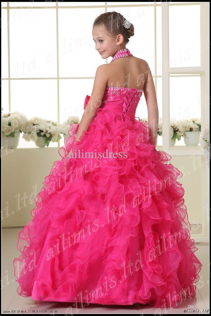 Wholesale Hot Sale Ball Gown Halter Style Rhinestones Ruffle Flower Girl Pageant Dresses Dance Party Dresses, Free shipping, $68.33/Piece | DHgate Mobile
