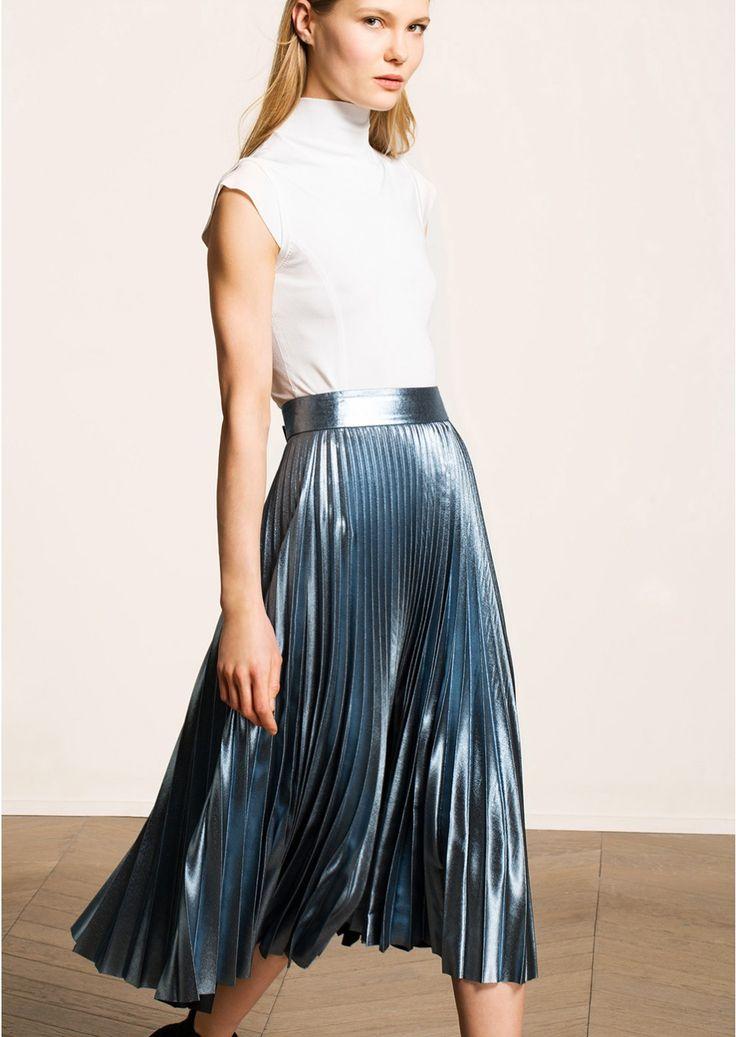 Metallic blue pleated midi skirt, femme, tara jarmon 2
