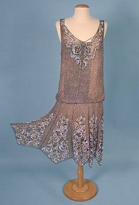 @1920's Silk Chiffon Sequined Flapper       Dress.