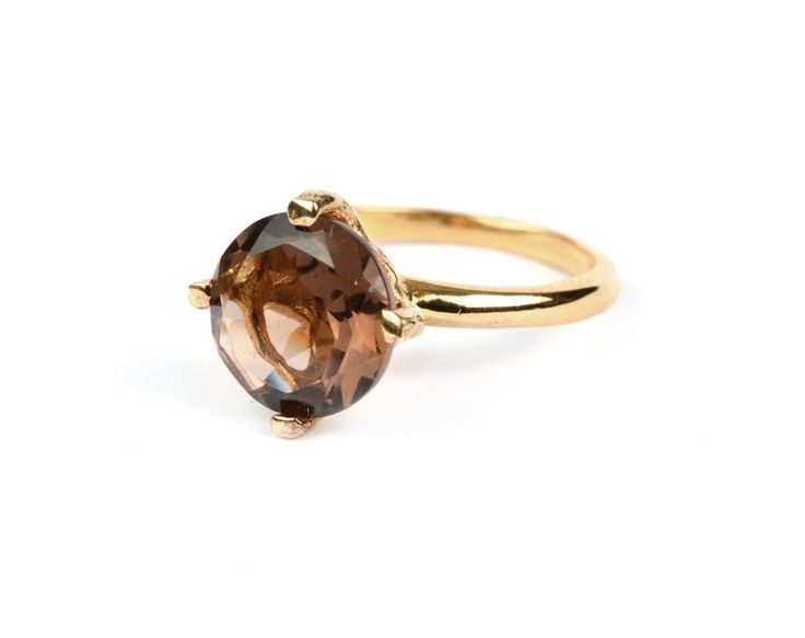 Ring from Syster P with a round semi-precious stone set in sterling silver plated with 18K gold.