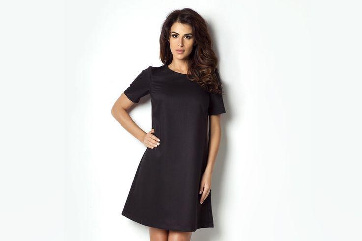 40-P17-CZERŃ Klasyczna sukienka - ivon-sklep - Sukienki midi