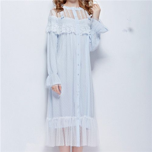 2016 White Sleep Lounge Women Sleepwear Indoor Clothing Long Nightgowns Sexy Lace Home Dress Vintage Nightdress With Mesh