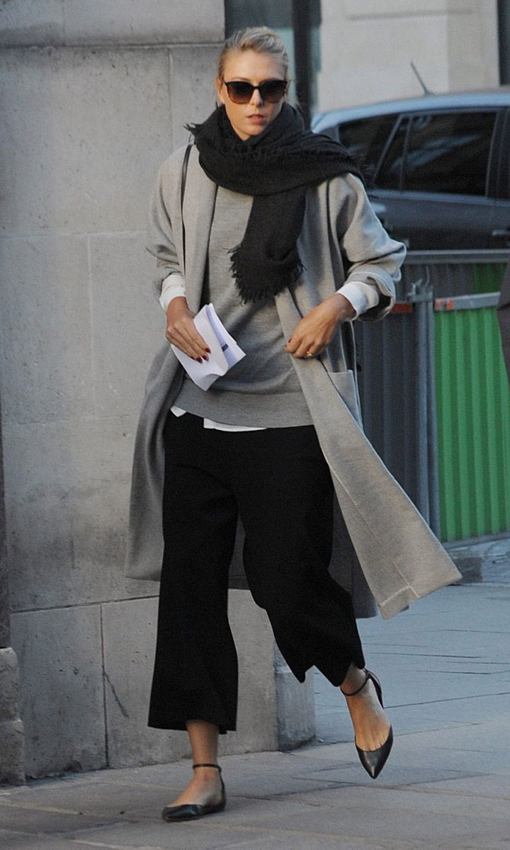 wide legged trousers - grey and black....