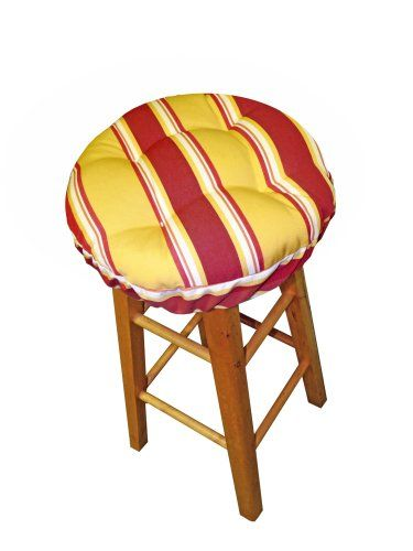 13  Round Barstool Cushion with Adjustable Drawstring Yoke - Baystreet Citrus Stripe Ruby Red  sc 1 st  Pinterest : round bar stool pads - islam-shia.org