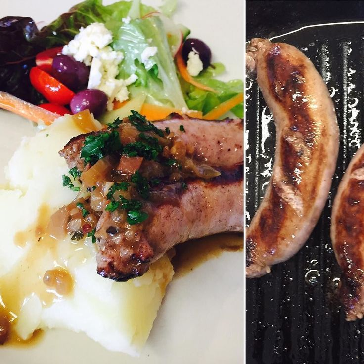 Today's special: Bangers and mash. Juicy pork sausages with creamy mash and brown onion gravy.  #discoveroverberg #eateryhermanus #lunchspecial #hermanuslunch #porksausage #bangersandmash