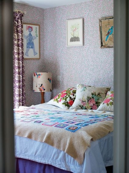 Granny square afghan with large, calm cream  edge.    eclectic bedroom by Ryland Peters & Smalls | CICO Books