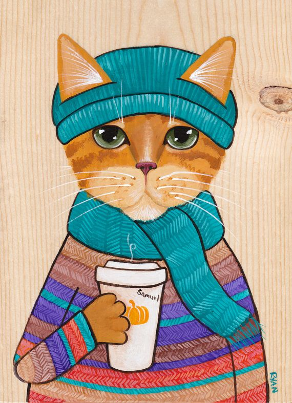 Citrouille d'automne Cat café Folk Art Portrait peinture