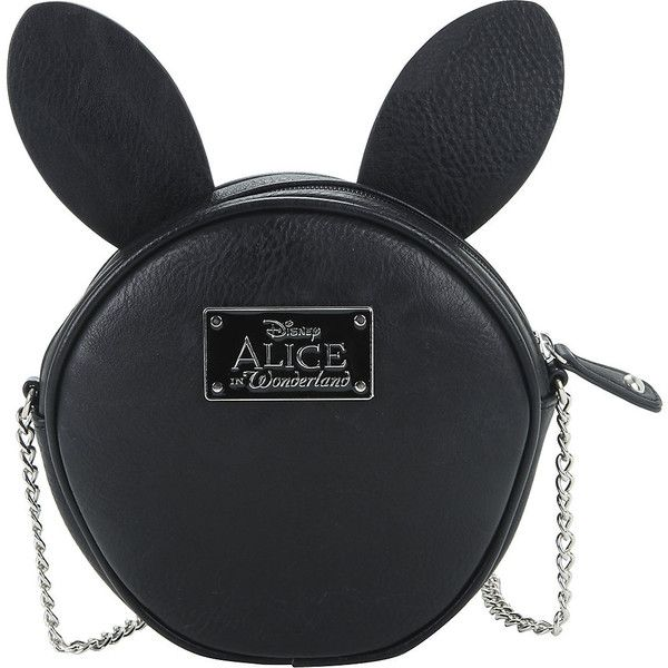 Disney Alice In Wonderland Black Clock Canteen Bag Hot Topic ($29) ❤ liked on Polyvore featuring bags, handbags, disney purse, zip bag, disney, pattern purse and chain strap shoulder bag