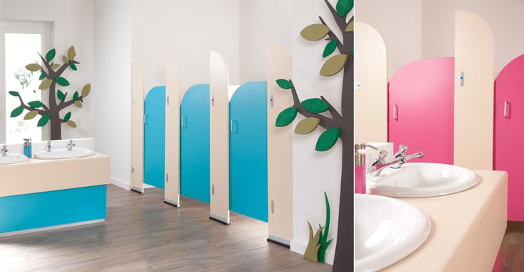 sydney pre school cubicles cream panels with blueberry