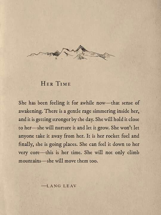 Her Time  Beautiful quote from Lang Leav