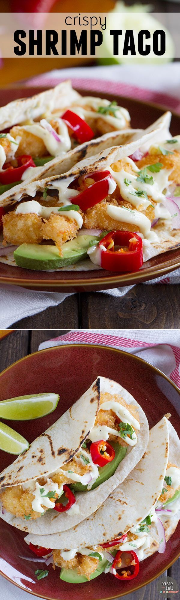 Crispy fried shrimp are combined with your favorite taco toppings and a homemade mayonnaise in this Crispy Shrimp Taco Recipe that is perfect for Taco Tuesday.