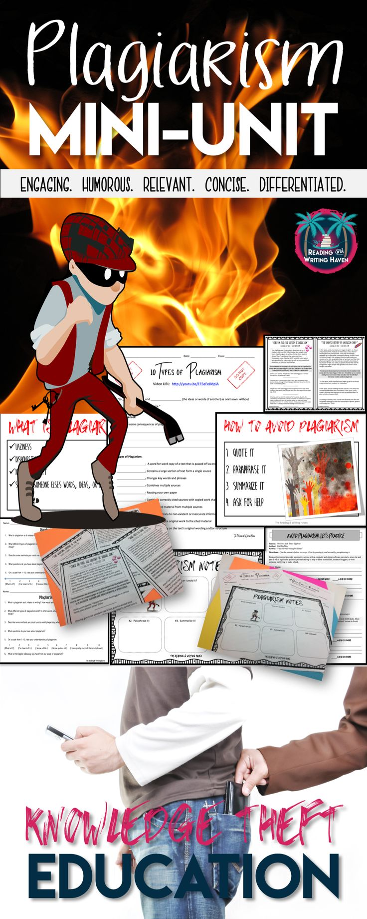 Need  a quick and engaging plagiarism lesson for your junior high or high school students? Try this plagiarism mini-unit, which contains an introductory lecture and a variety of student activities. Help your students understand various types of plagiarism. This writing lesson is crucial for older students who are preparing to write a research paper. #highschoolwriting #plagiarismlesson #researchskills