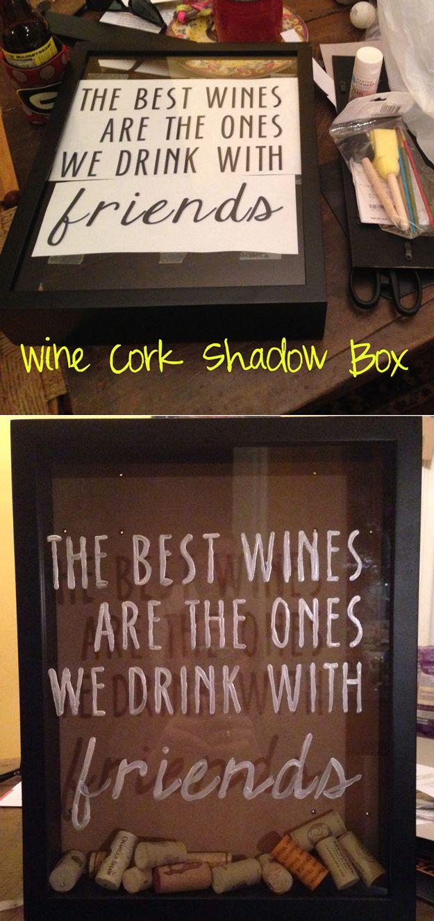 Cool Wine Cork Shadow Box   Easy DIY Wine Cork Shadow Box Project by DIY Ready at http://diyready.com/more-wine-cork-crafts-ideas/