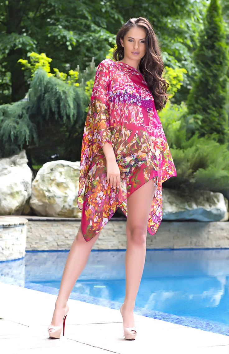 Gorgeous Beach cover up,Kaftan,tunic top in pretty butterfly and floral print design. by YourGorgeousstyle on Etsy