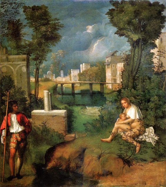 """La """"Tempesta"""" di Giorgione. Uno dei quadri più enigmatici su cui ancora oggi si dibatte. E'conservato alle Gallerie dell'Accademia di Venezia. E' stato considerato il primo quadro senza soggetto della storia dell'arte. La critica si è da sempre interrogata sul soggetto rappresentato. Una donna seduta che allatta un bambino e un uomo in piedi poggiato su bastone. Sullo sfondo il fulmine che fende il cielo e che prefigura una tempesta imminente. Sono tantissime le interpretazioni date dai…"""