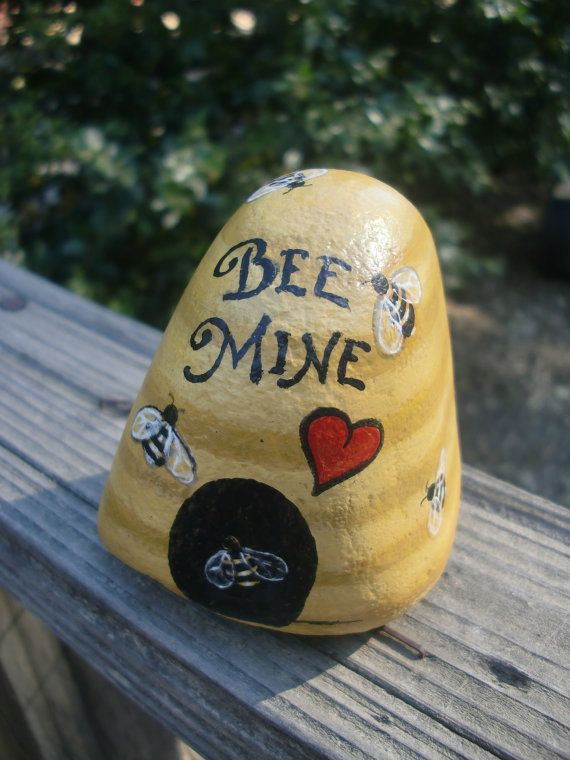Hey, I found this really awesome Etsy listing at http://www.etsy.com/listing/152597235/bee-mine-naturally-in-love-painted-rock