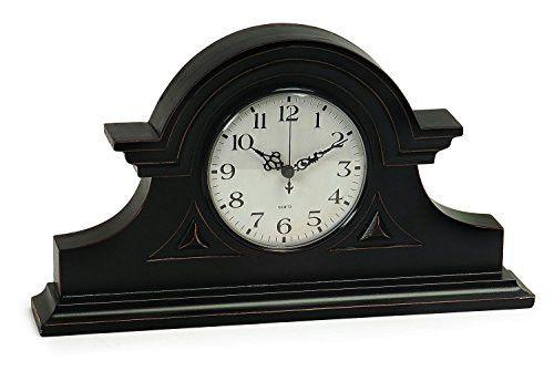 Prime Décor Collection Black Mantel Clock 8.5 inch h x 15 inch w x 2.75 inch