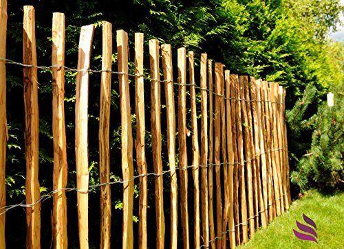 Imprägnierter Kastanien Staketenzaun, Holzzaun mit sicheren Spitzen als Gartenzaun, Weidezaun, Teichschutzzaun - Länge: 5m, Lattenabstand:(7-8 cm);Höhe:100 cm