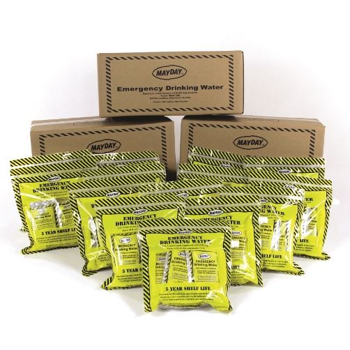 Case of water - 5-yr shelf life - 100 individual survival water pouches, with emergency water container, each pouch stamped with mfg and exp date, easy to carry, easy to store.