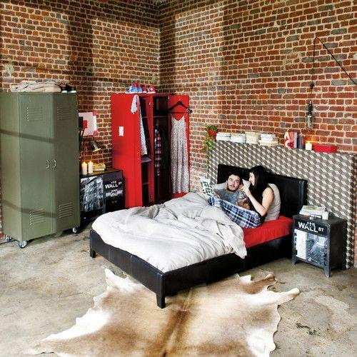 Bed 140 in bruine lederlook
