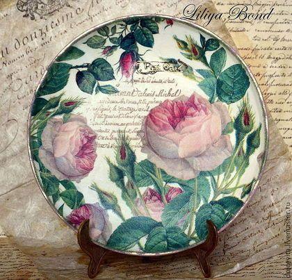 """Тарелки ручной работы. Панно-тарелка""""Розовые письма"""". Лилия Бонд. Ярмарка Мастеров."""