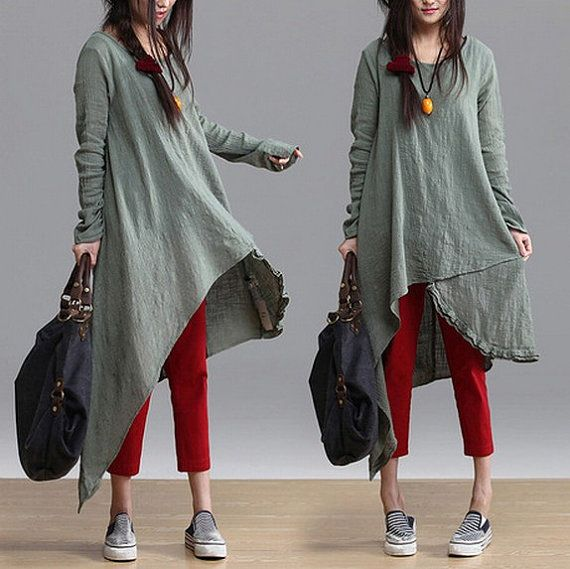 blue green colors Loose Fitting Linen long Sleeve T Shirt Blouse for Women top - Spring Dress spring clothes long dress (319) on Etsy, £48.29