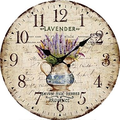 Country Floral Wall Clock, vintage inspired. Rustic feelings – USD $ 29.99