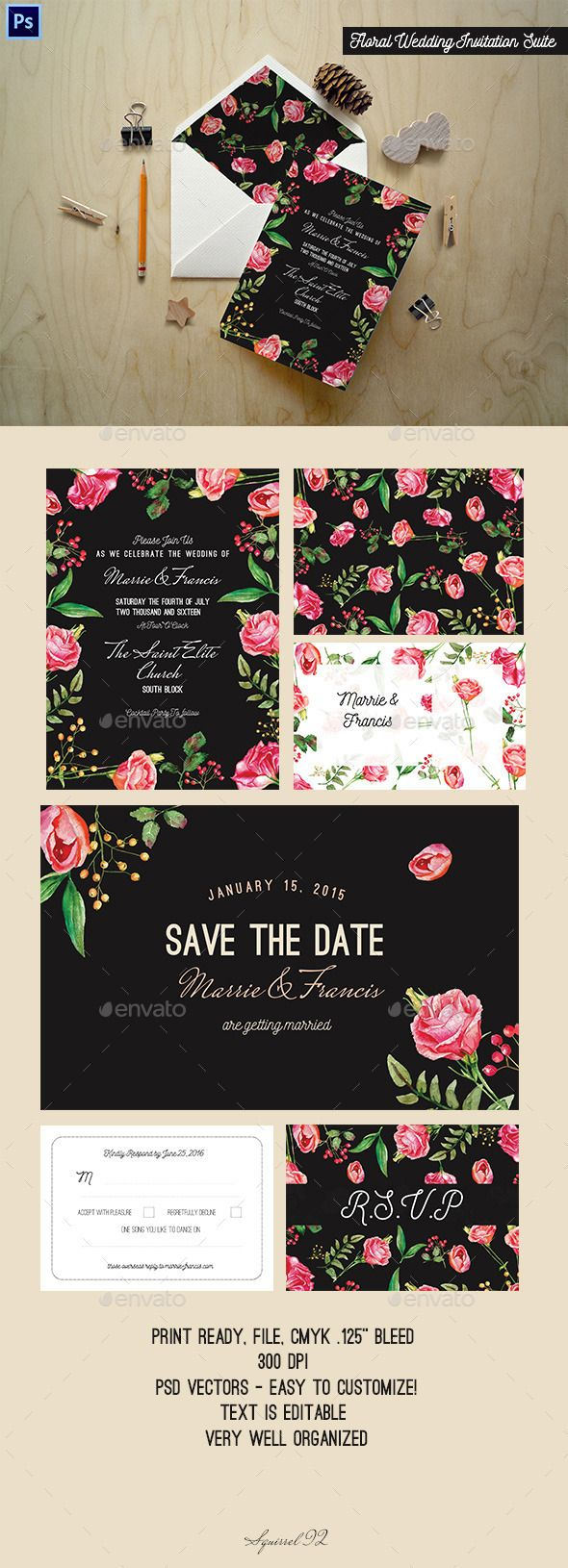 wedding invitation design psd%0A Floral Wedding Invitation Suite
