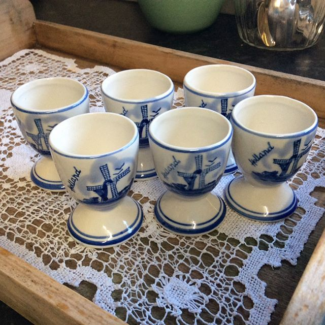 """$30 Set 6 Dutch eggcups (more available) pretty blue and white, love the look with lace, or natural wood. Comment """"SOLD"""" to purchase. Price is + postage or collect from Toowoomba.  #vintagekitchen #vintagekitchendecor #vintageforsale. #vintagehome #vintagehomedecor #vintagelove #blueandwhite #blueandwhitechina #kitchenideas"""