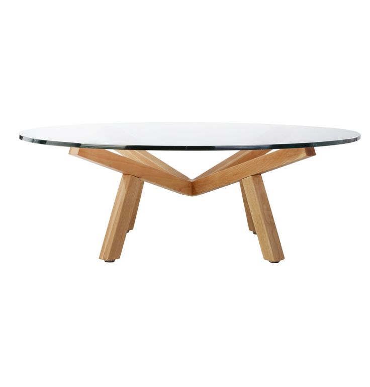 ORIGINAL SEAN DIX FORTE COFFEE TABLE ROUND GLASS - 120cm - Matt Blatt $750 Dimensions Table top Ø 120cm x 41cm H Materials 15mm tempered glass; Solid American Timber. and walnut