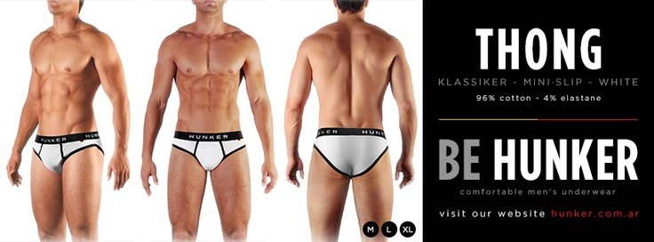 Thong (Mini Slip) White, 96% Cotton - 4% Elastane. SHOP ONLINE (we ship worldwide) www.hunker.com.ar