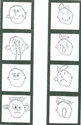 This is a an art lesson plan for little kids where students draw their emotions and mount them in a strip of 4...a little like a photo strip of silly faces.