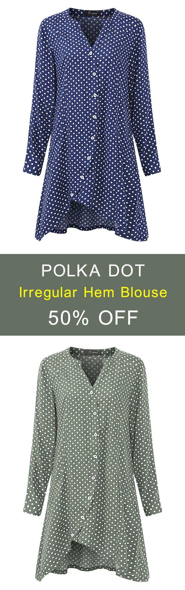 O-NEWE L-5XL 6 Colors Polka Dot Irregular Hem Blouse. #women #blouse #fashion