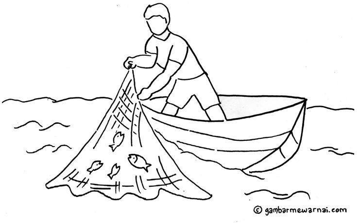 Gambar Mewarnai Nelayan