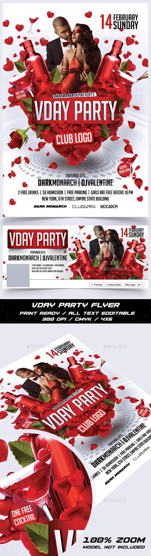 Valentine Day Party Flyer — Photoshop PSD #party #event • Available here → https://graphicriver.net/item/valentine-day-party-flyer/14291227?ref=pxcr