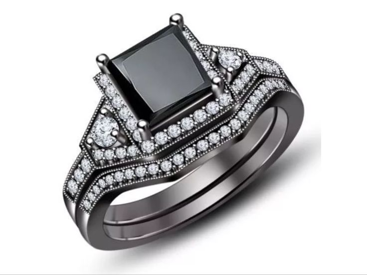 Princess Cut 10k Black Gold Filled Black Sapphire Wedding/Party Ring Set