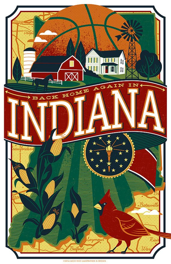 Show your love for the Hoosier state! This 11X17 print will make a great gift for any Indiana native and features sports imagery, while focusing