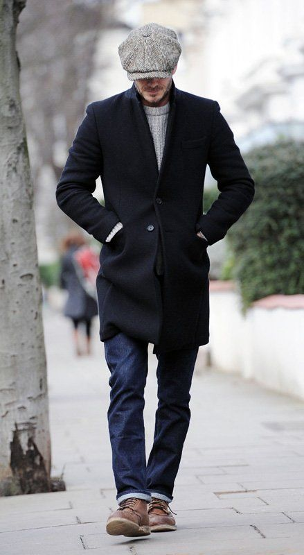Bakers cap. Peacoat. Jeans. David Beckham. Men's Fall Winter Street Style Fashion.