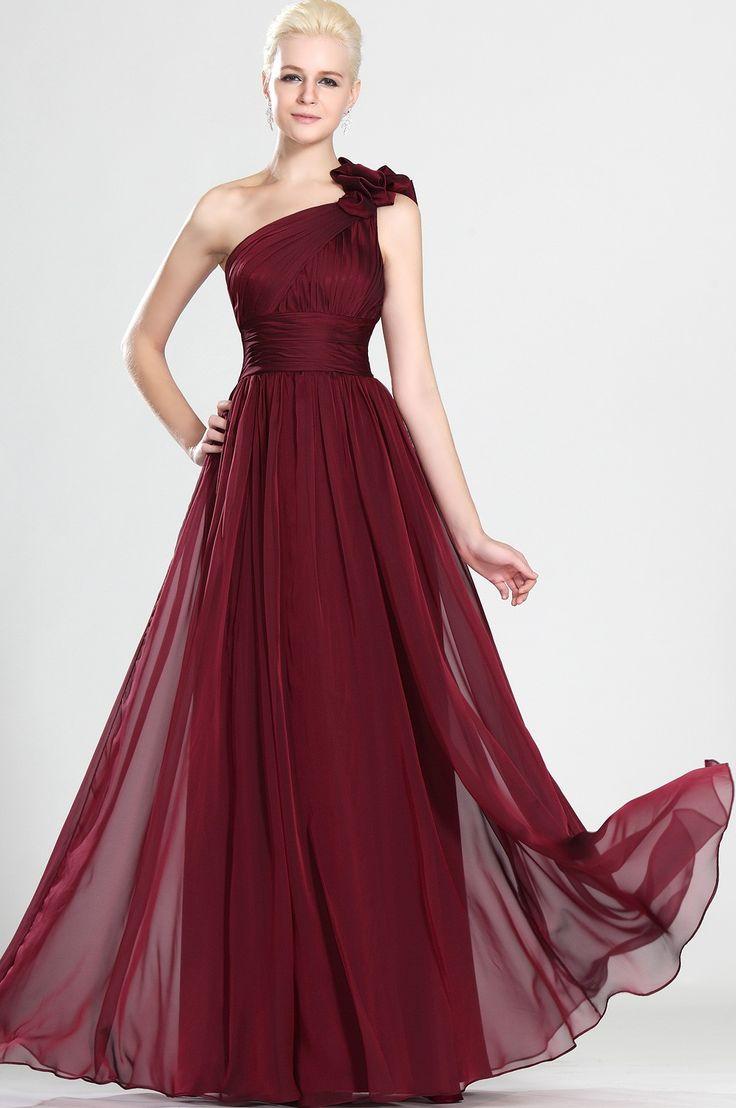 A-Line/Princess One Shoulder Floor-Length Chiffon Burgundy Prom Gown
