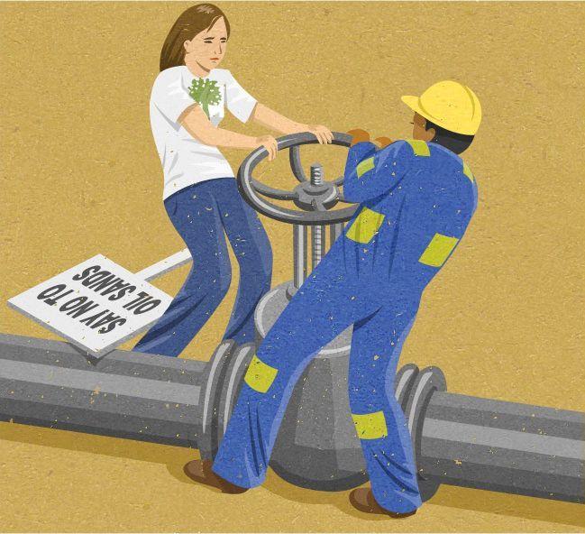 """Diciamo no alle sabbie petrolifere"". John Holcroft"