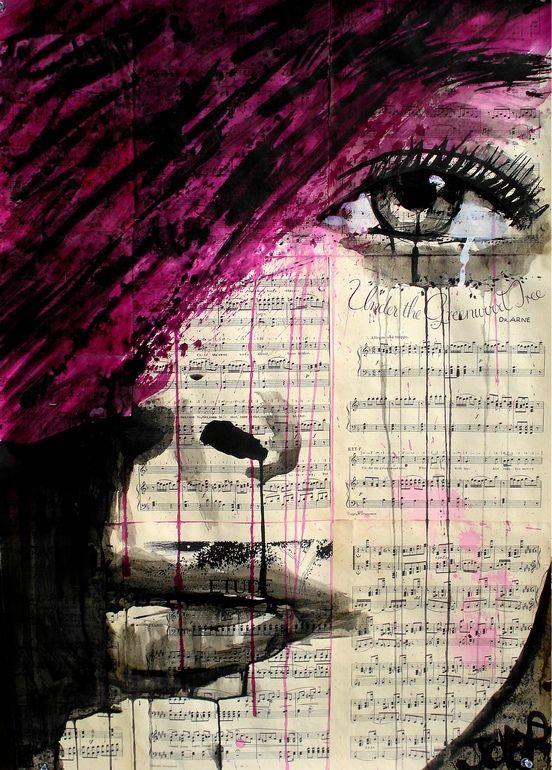 inks on vintage sheet music glued together.