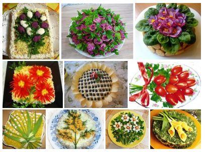 Топ-10 рецептов праздничных салатов-цветов к 8 марта